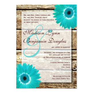 Rustic Wood Teal Gerber Daisy Wedding Invitations Personalized Invites