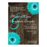 Rustic Wood Teal Gerber Daisy Wedding Invitations Personalized Announcement