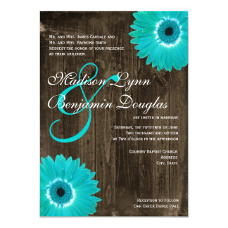 Rustic Wood Teal Gerber Daisy Wedding Invitations