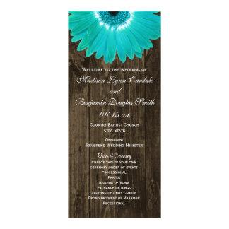 Rustic Wood Teal Gerber Daisy Wedding Programs 2