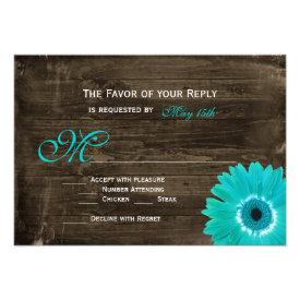 Rustic Wood Teal Gerber Daisy Wedding RSVP Cards
