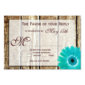 Rustic Wood Teal Gerber Daisy Wedding RSVP Cards Personalized Announcement