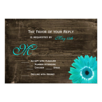 Rustic Wood Teal Gerber Daisy Wedding RSVP Cards