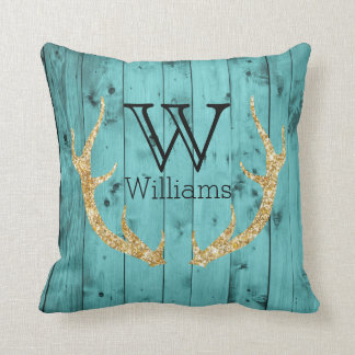 Rustic Wood Teal Gold Glitter Deer Antler Monogram Throw Pillow