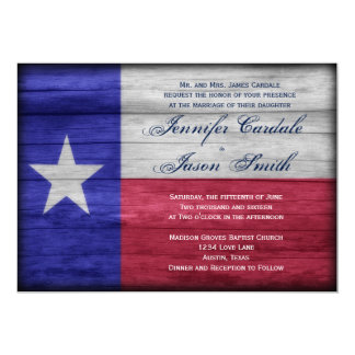 Rustic Wood Texas Flag Wedding Invitations