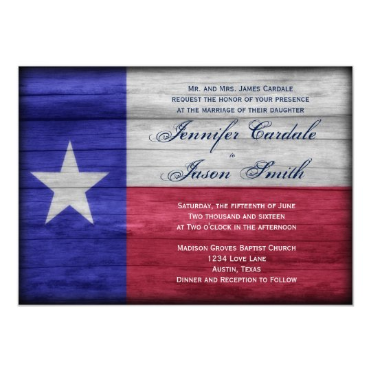 Rustic Wood Texas Flag Wedding Invitations Zazzle Com