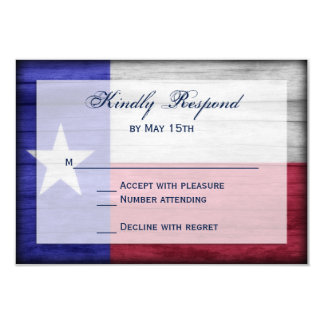 Rustic Wood Texas Flag Wedding RSVP Cards
