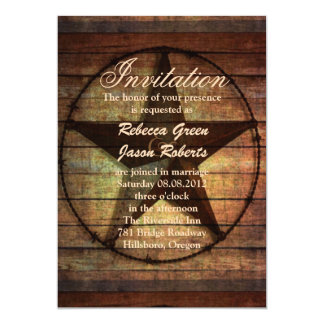 rustic wood texas star western wedding invitation