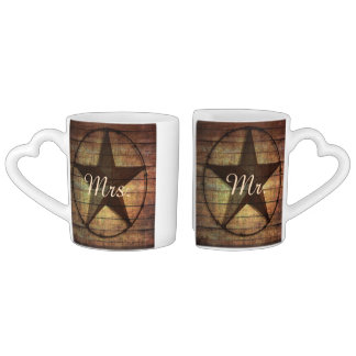 rustic wood texas star western wedding mr and mrs coffee mug set