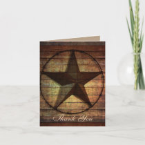 rustic wood texas star western wedding thank you