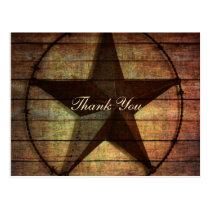 rustic wood texas star western wedding thank you postcard