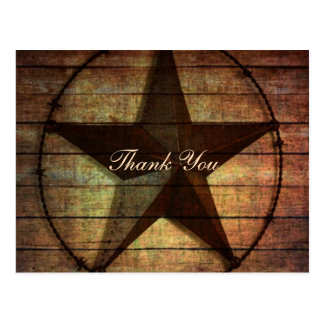 rustic wood texas star western wedding thank you postcard