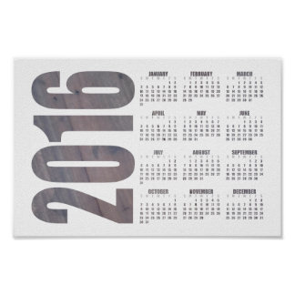Rustic Wood Texture 2016 Calendar Poster