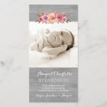 Rustic Wood Thank You Baby Shower Photo Cards