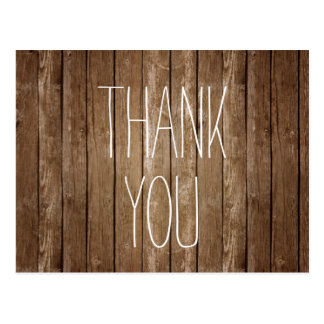 Rustic Wood Thank You Post Card
