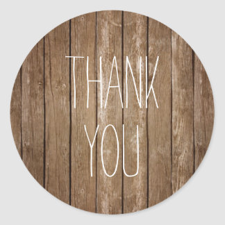 Rustic Wood Thank You Sticker