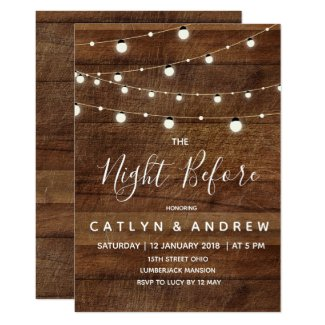 Rustic Wood The Night Before Invitation