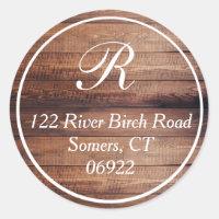Rustic Wood Thin Border Monogram Address Seal