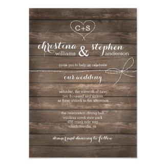 Rustic Wood Tie the Knot Wedding Invitation