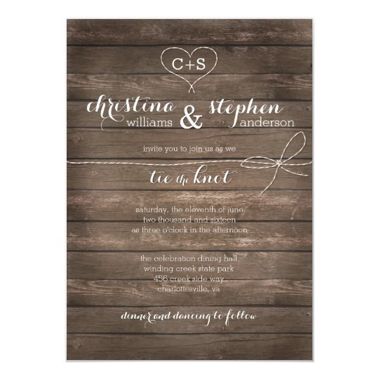 rustic wood tie the knot wedding invitation zazzle com