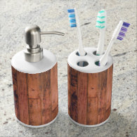 Rustic Wood Tooth Brush Holder & Soap Dispenser