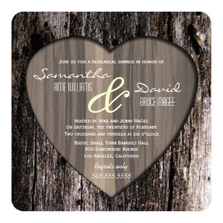 Rustic Wood Tree Bark Heart Rehearsal Dinner Card