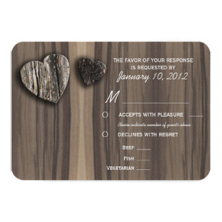 Rustic Wood Tree Bark Heart RSVP with Meal Options Card
