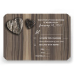 Rustic Wood Tree Bark Heart RSVP with Meal Options Announcement