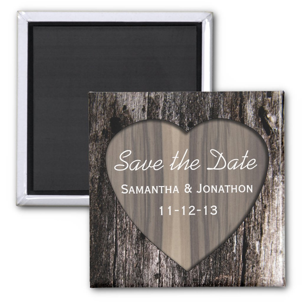 Rustic Wood Tree Bark Heart Wedding Save the Date Refrigerator Magnets