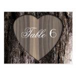 Rustic Wood Tree Bark Heart Wedding Table Number 6 Post Card