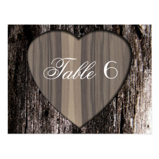 Rustic Wood Tree Bark Heart Wedding Table Number 6 Postcard