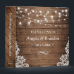 """Rustic Wood Twinkle Lights Lace Wedding 3 Ring Binder<br><div class=""""desc"""">Rustic Wood Twinkle Lights Lace Wedding Planner Binder.  (1) For further customization,  please click the """"customize further"""" link and use our design tool to modify this template.  (2) If you need help or matching items,  please contact me.</div>"""