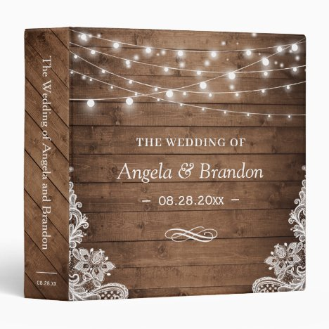 Rustic Wood Twinkle Lights Lace Wedding 3 Ring Binder
