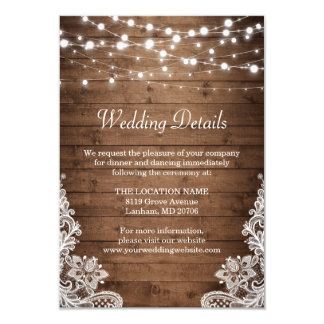 Rustic Wood Twinkle Lights Lace Wedding Details Card