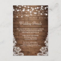 Rustic Wood Twinkle Lights Lace Wedding Details Enclosure Card