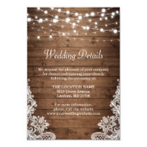 Rustic Wood Twinkle Lights Lace Wedding Details Invitation