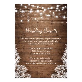 Rustic Wood Twinkle Lights Lace Wedding Details Invitation
