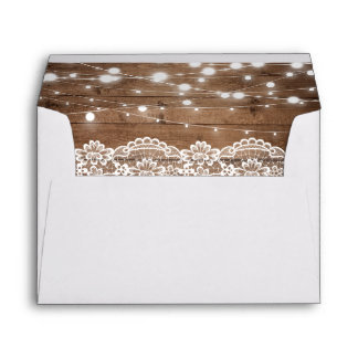 Rustic Wood Twinkle Lights Lace with your Address Envelope