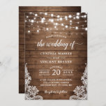 """Rustic Wood Twinkle String Lights Lace Wedding Invitation<br><div class=""""desc"""">*** See Matching Items: https://zazzle.com/collections/119089280103131827 *** 
