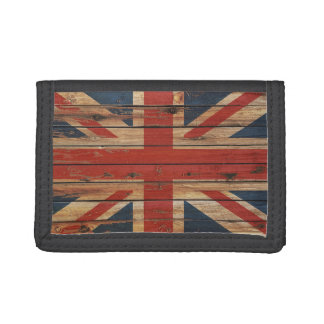 Rustic Wood United Kingdom Flag Tri-fold Wallets
