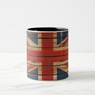 Rustic Wood United Kingdom Flag Two-Tone Coffee Mug