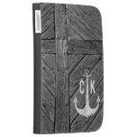 Rustic wood vintage anchor nautical monogram kindle case