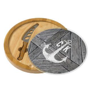 Rustic wood vintage anchor nautical monogram cheese board