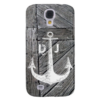 Rustic wood vintage anchor nautical monogram galaxy s4 cover