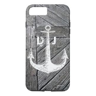 Rustic wood vintage anchor nautical monogram iPhone 7 plus case