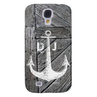 Rustic wood vintage anchor nautical monogram samsung galaxy s4 case