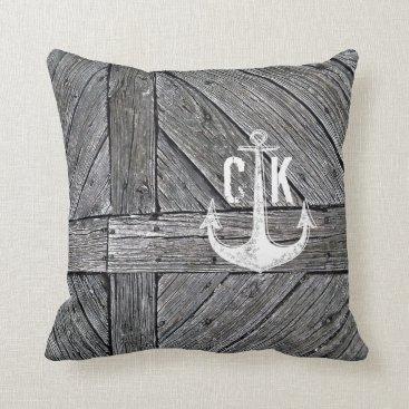 Beach Themed Rustic wood vintage anchor nautical monogram throw pillow