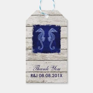 rustic wood vintage blue seahorse wedding favor pack of gift tags