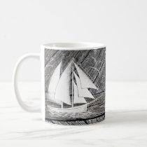 Rustic wood vintage boat nautical monogram coffee mug