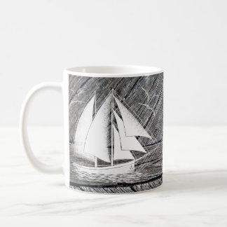 Rustic wood vintage boat nautical monogram coffee mug